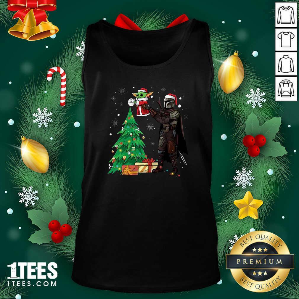 Darth Vader And Baby Yoda Santa Tree Christmas Tank Top- Design By 1Tees.com