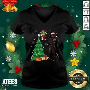Darth Vader And Baby Yoda Santa Tree Christmas V-neck- Design By 1Tees.com