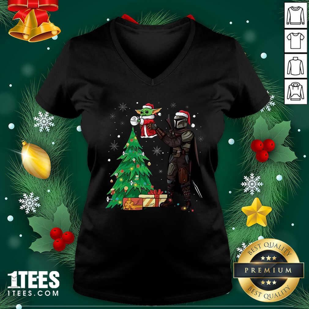 Darth Vader And Baby Yoda Santa Tree Christmas V-neck- Design By 1Tees.com