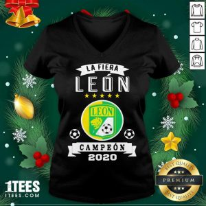 Club Leon Campeon 2020 Futbol Mexicano La Fiera V-neck- Design By 1Tees.com