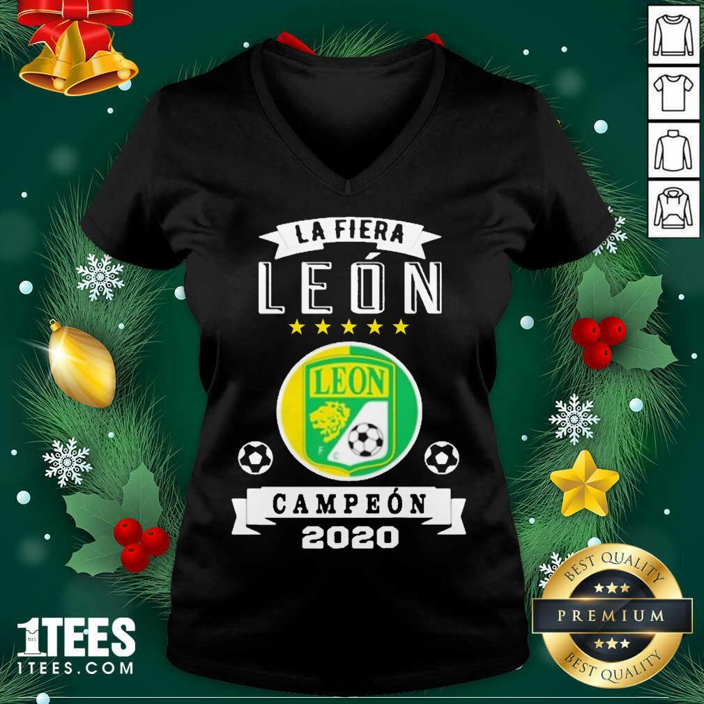 Club Leon Campeon 2020 Futbol Mexicano La Fiera V-neck- Design By 1Tees.com