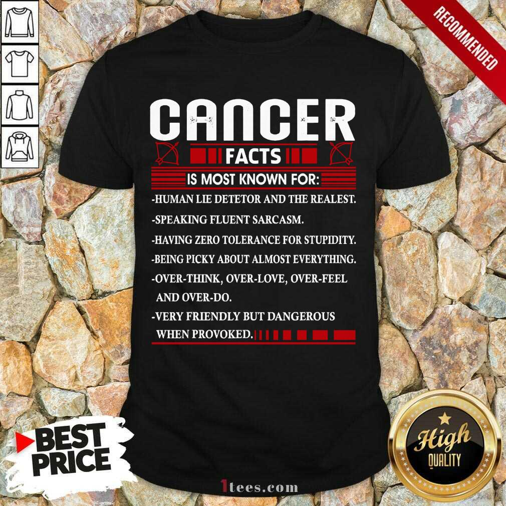 List Cancer Facts Is Most Know For Zodiac Birthday Cancer Shirt- Design By 1Tees.com