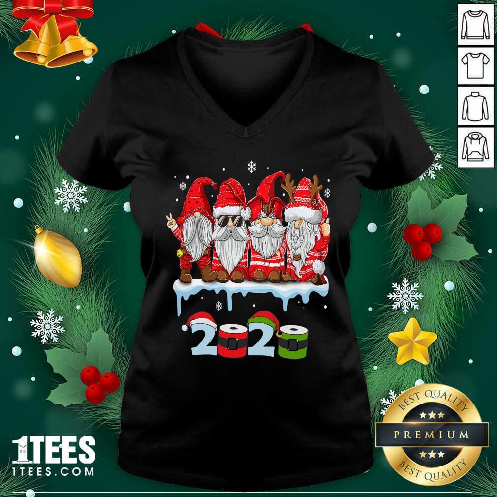 Merry Christmas Gnomes Wear Mask 2020 Quarantine Xmas V-neck- Design By 1Tees.com