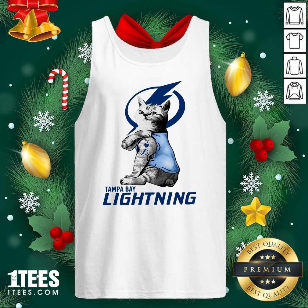Tattoo Cat I love Tam Bay Lightning Tank Top- Design By 1Tees.com