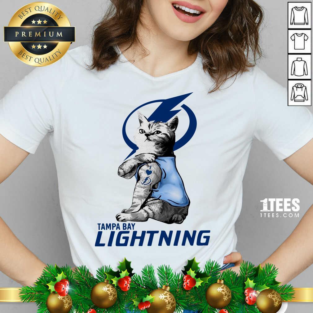 Tattoo Cat I love Tam Bay Lightning V-neck- Design By 1Tees.com