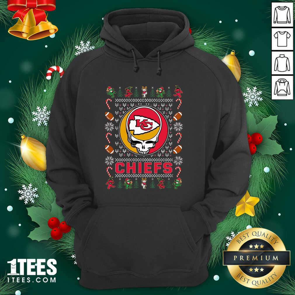 Kansas City Chiefs Grateful Dead Christmas Ugly Hoodie- Design By 1Tees.com