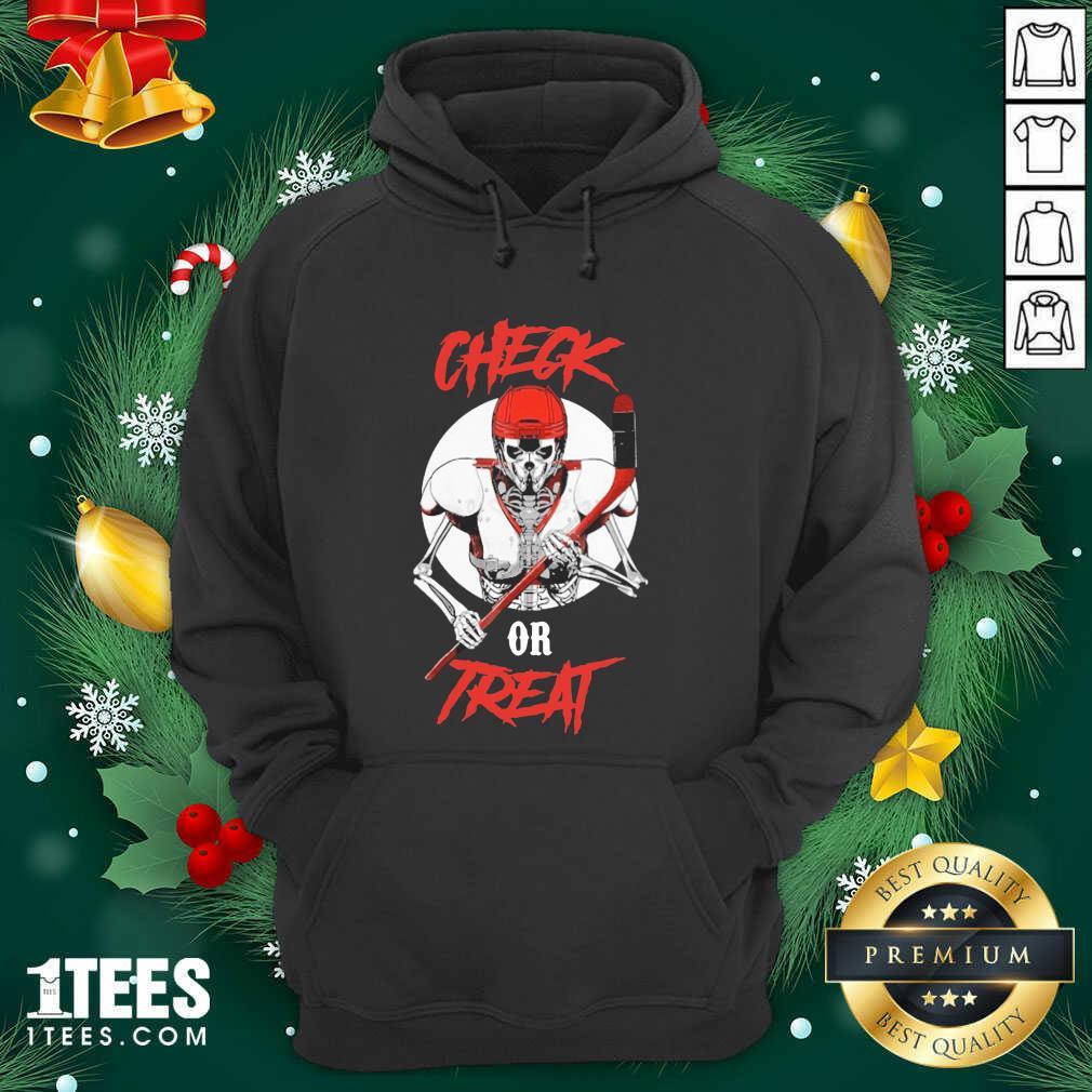 Skeleton Hockey Check Or Treat Hoodie- Design By 1Tees.com