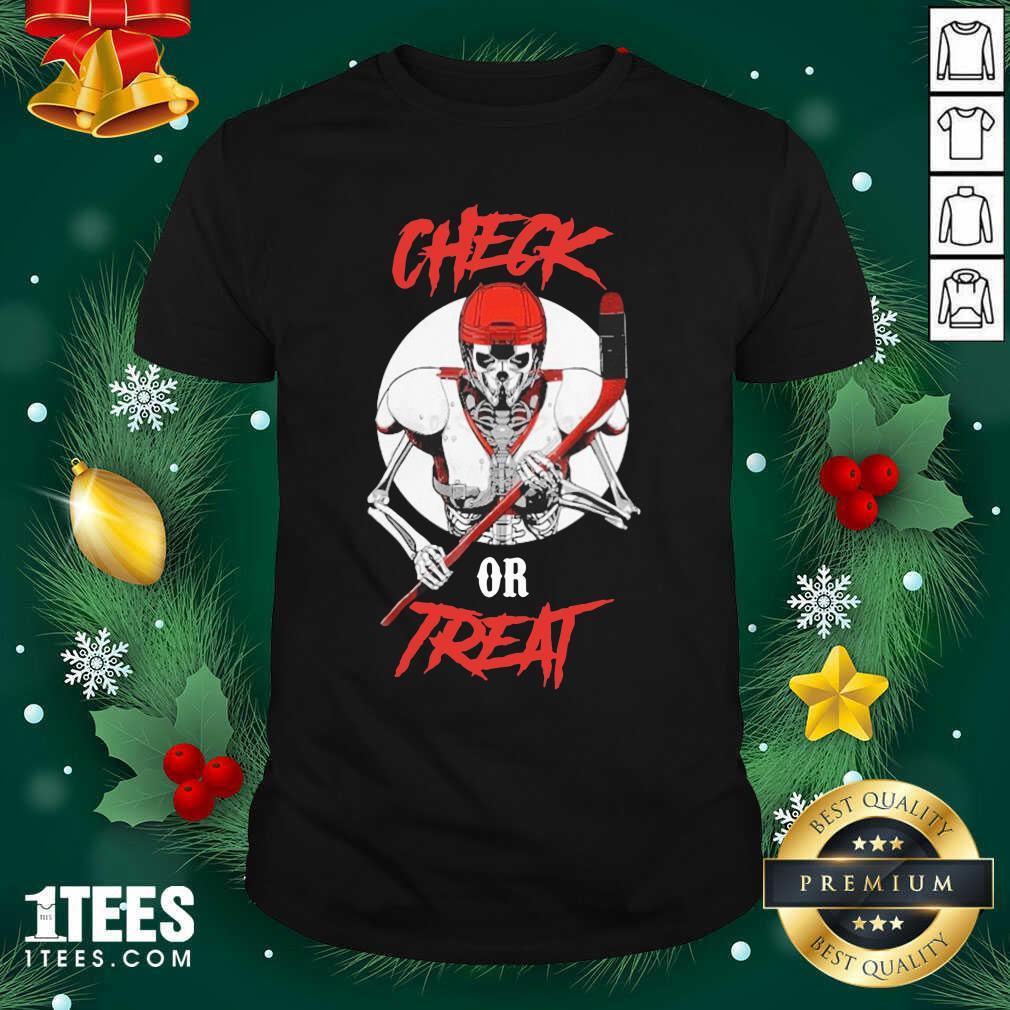 Skeleton Hockey Check Or Treat Shirt- Design By 1Tees.com