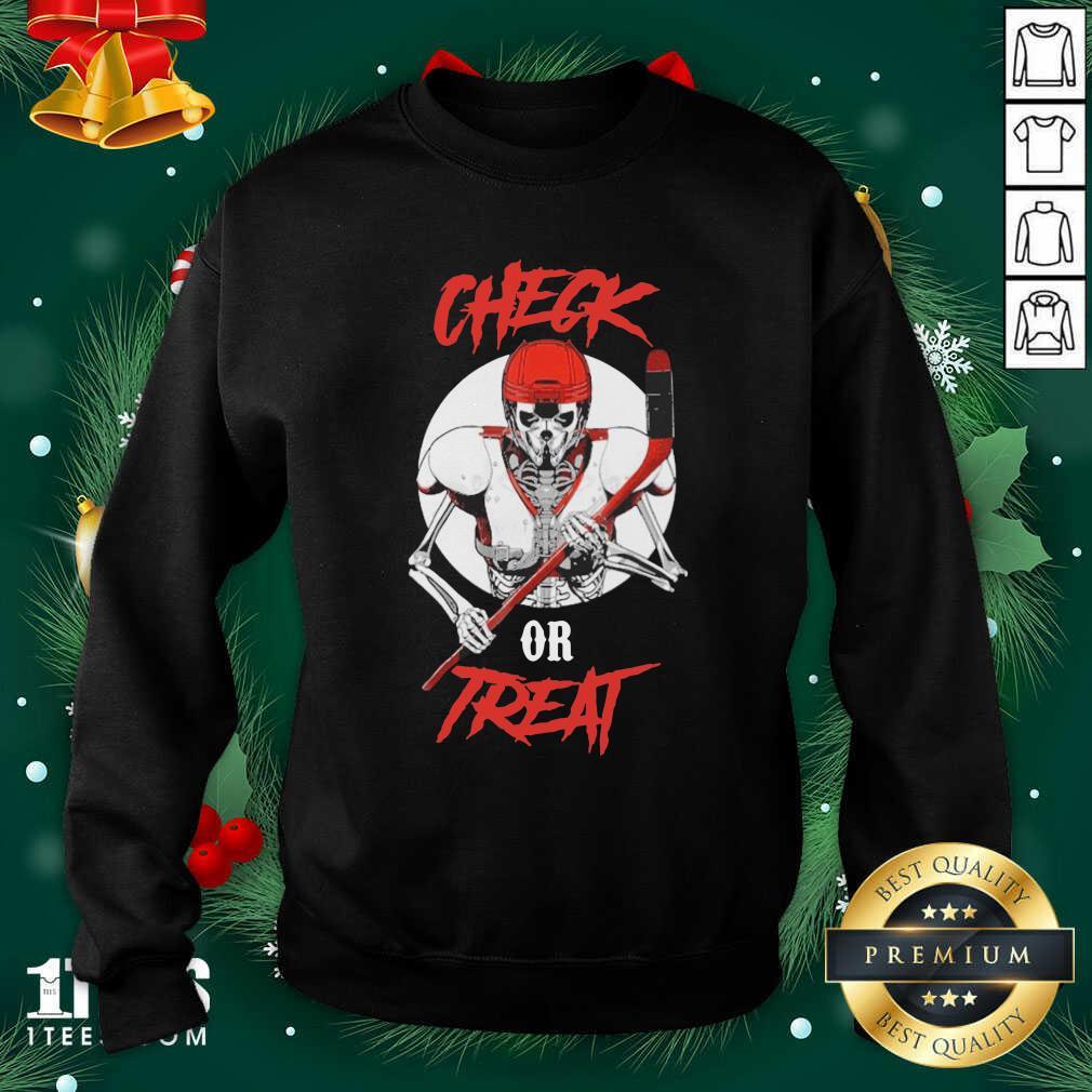 Skeleton Hockey Check Or Treat Sweatshirt- Design By 1Tees.com