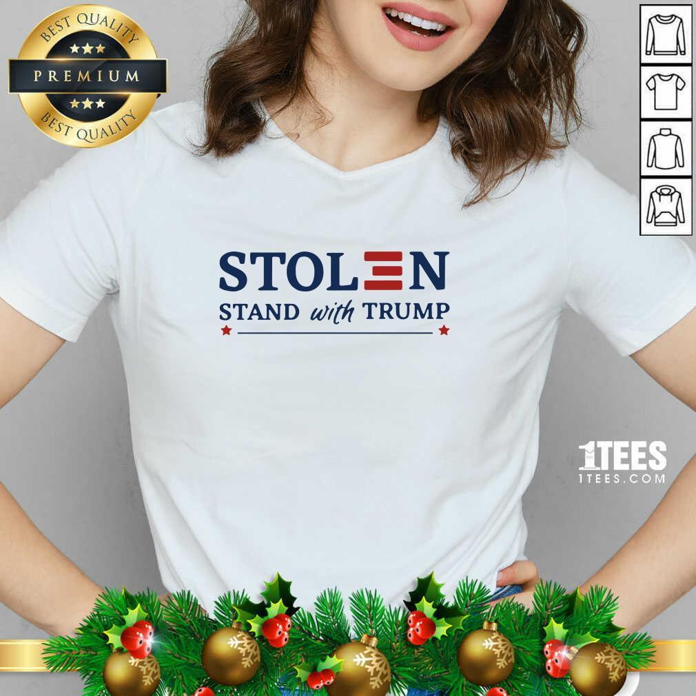 Stolen Stand With Trump V-neck- Design By 1Tees.com