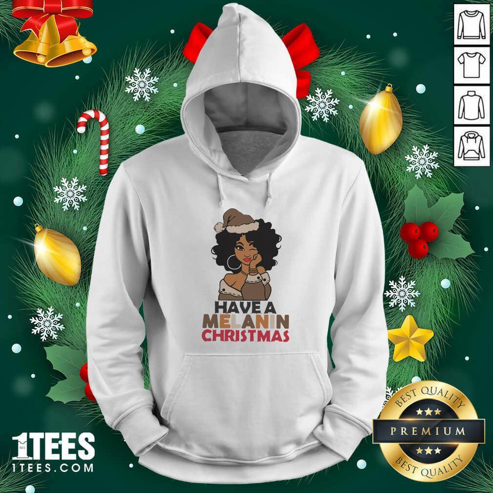 Black Girl hat Santa Have A Melanin Merry Christmas Hoodie- Design By 1tees.com