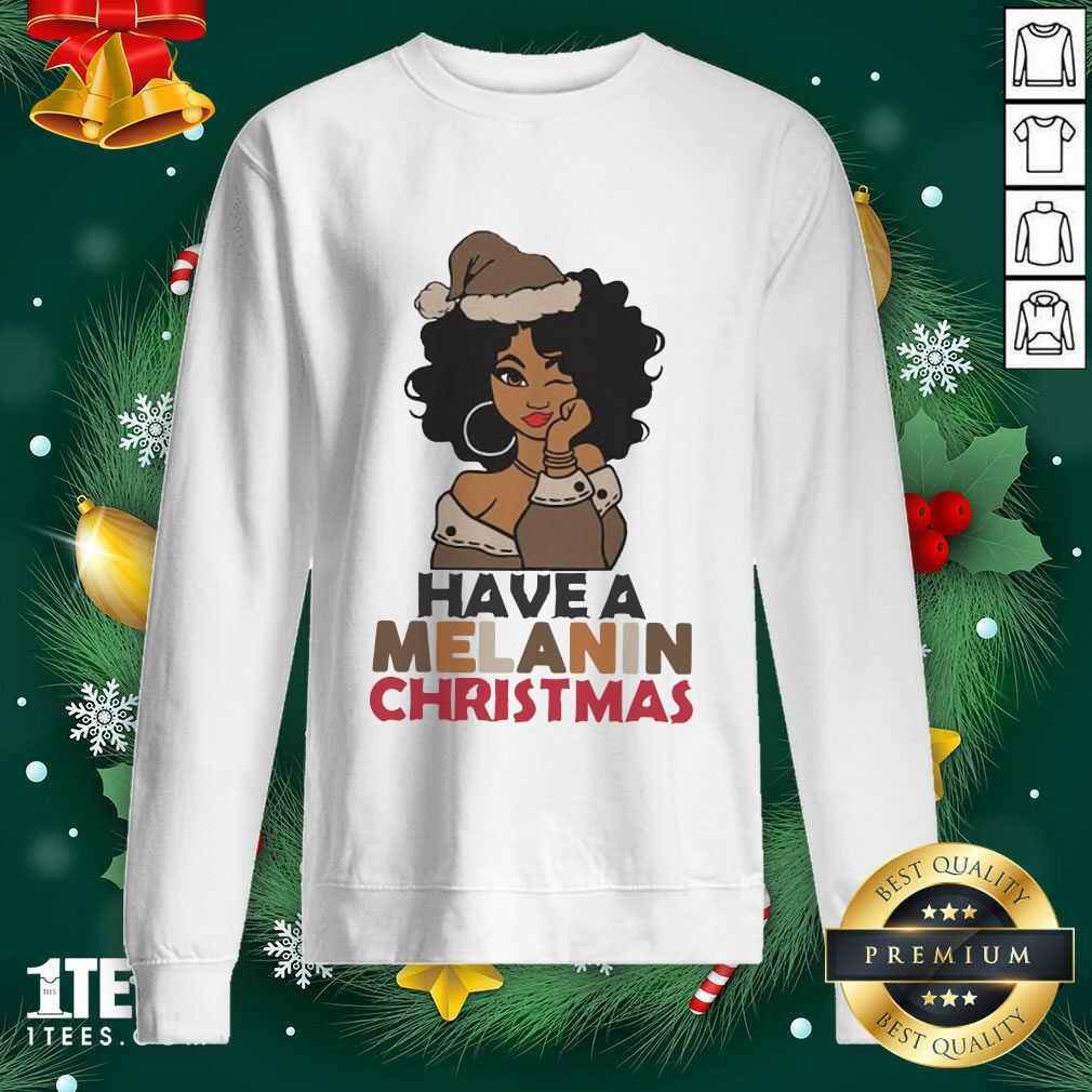 Black Girl hat Santa Have A Melanin Merry Christmas Sweatshirt- Design By 1tees.com