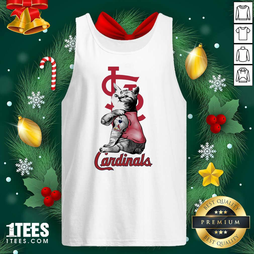 Tattoo Cat I love St Louis Cardinals Tank Top- Design By 1Tees.com