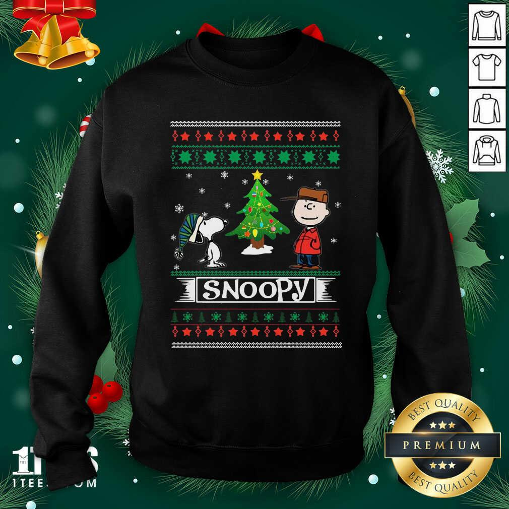 The Peanuts Charlie Brown And Snoopy Ugly Merry Christmas Tree Sweatshirt- Design By 1Tees.com
