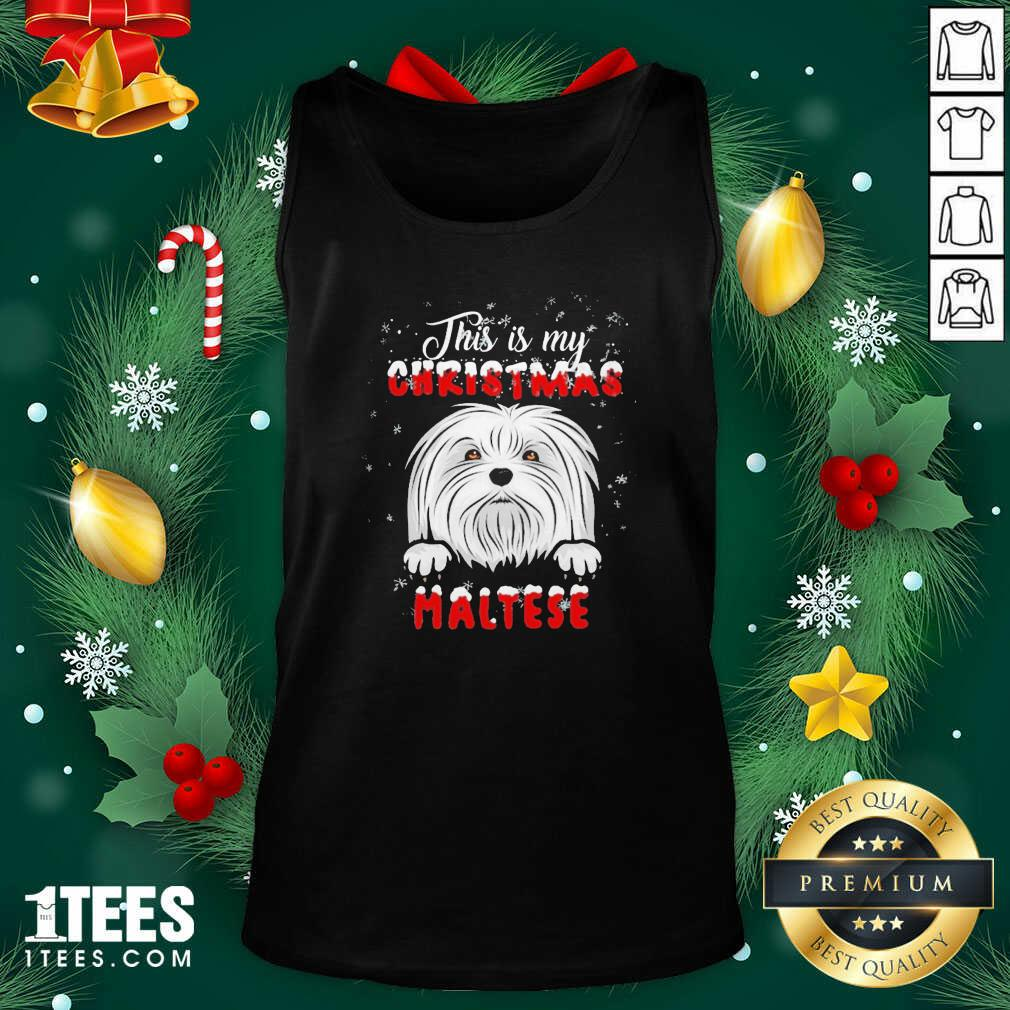 This Is My Christmas Maltese Merry Christmas Tank Top- Design By 1Tees.com