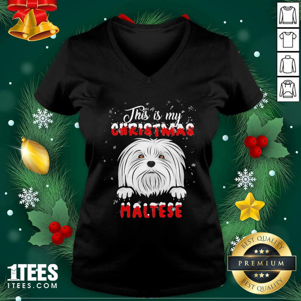 This Is My Christmas Maltese Merry Christmas V-neck- Design By 1Tees.com