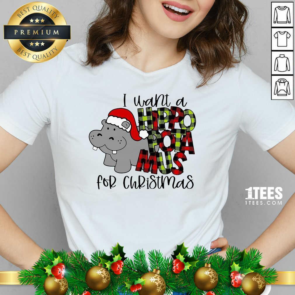 I Want A Hippopotamus For Christmas V-neck- Design By 1tees.com