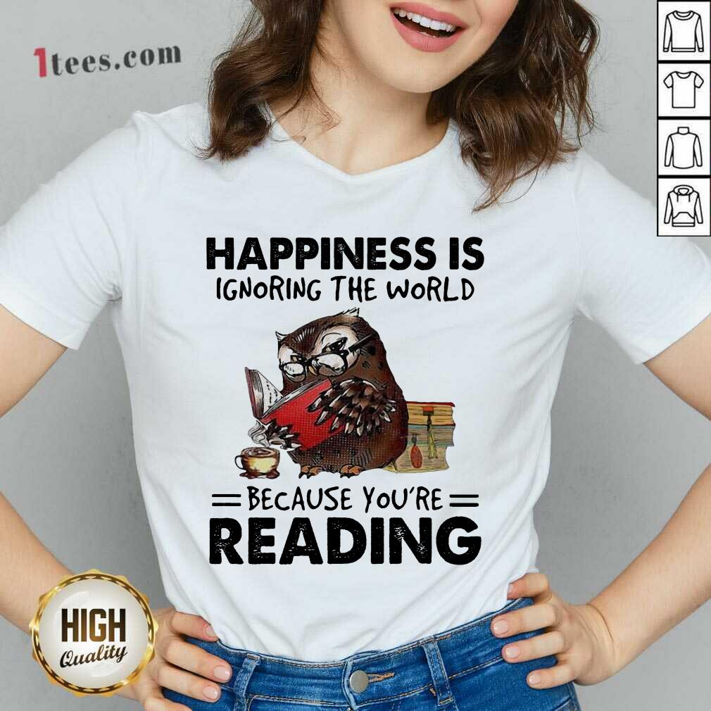 Happiness Is Ignoring The World Because You're Reading Owl V-neck- Design By 1Tees.com