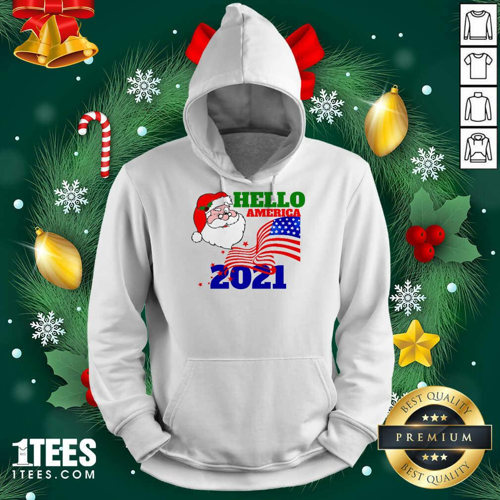 Hello America 2021 Santa Claus Merry Christmas Usa Flag Hoodie- Design By 1tees.com