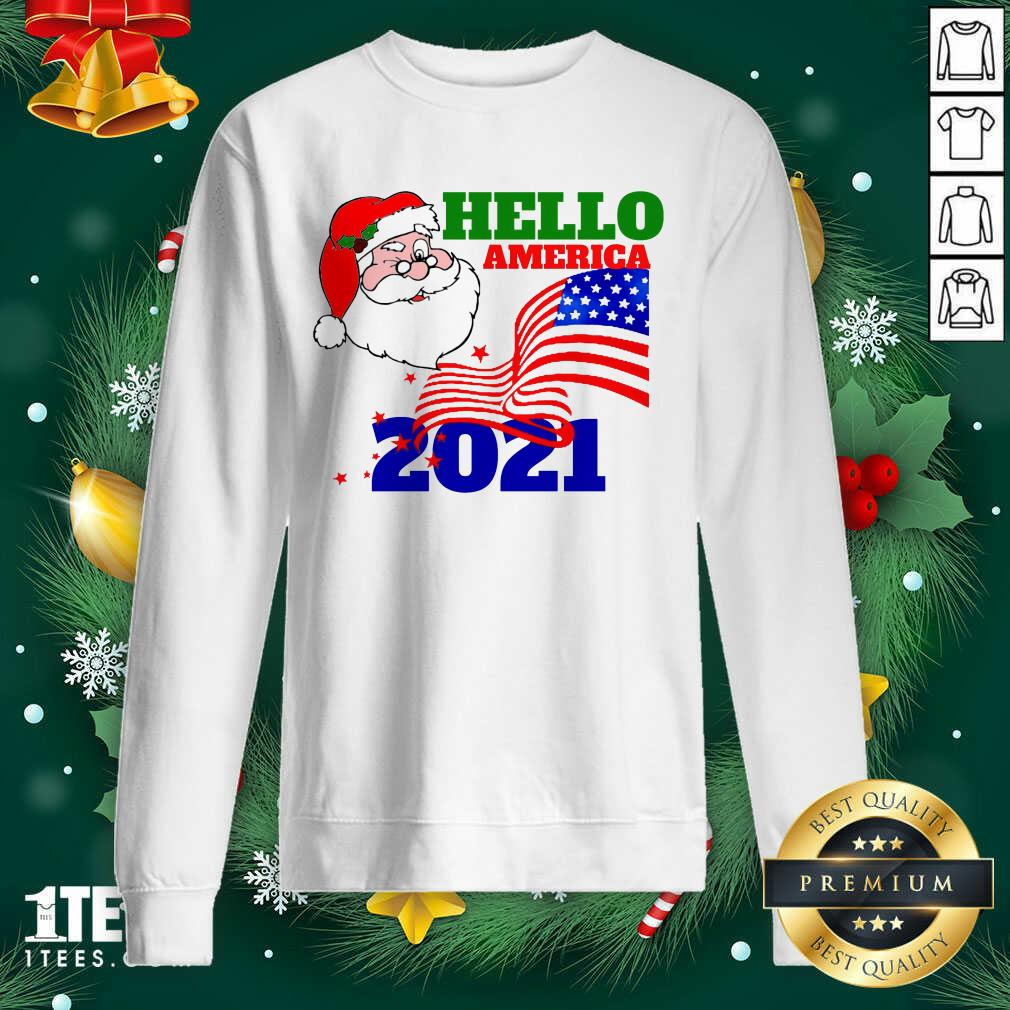 Hello America 2021 Santa Claus Merry Christmas Usa Flag Sweatshirt- Design By 1tees.com