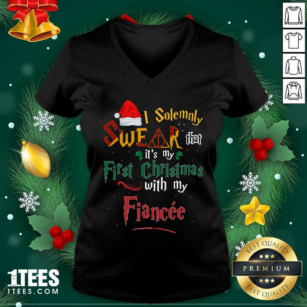 I Solemnly Swear That It's My First Christmas With My Fiance V-neck- Design By 1Tees.com