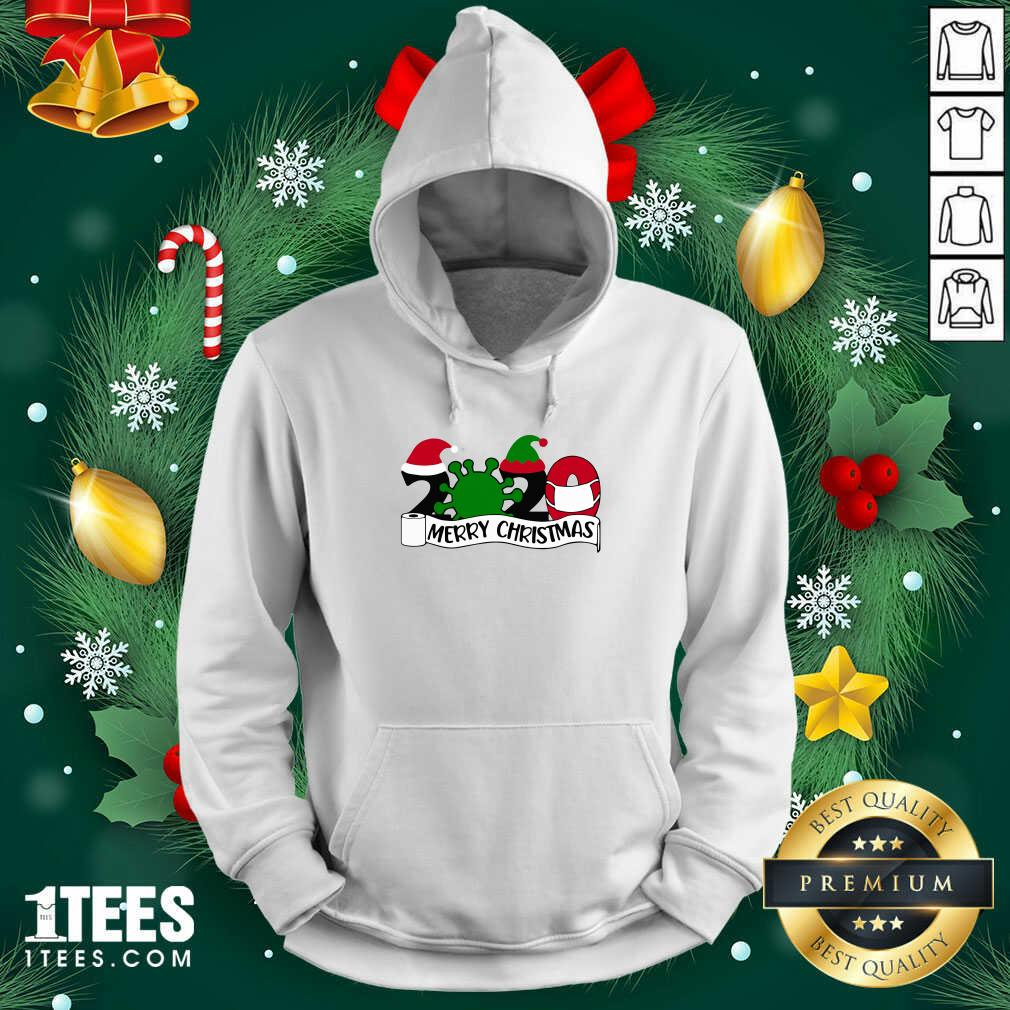 Merry Christmas 2020 Santa Elf Coronavirus Hoodie- Design By 1Tees.com