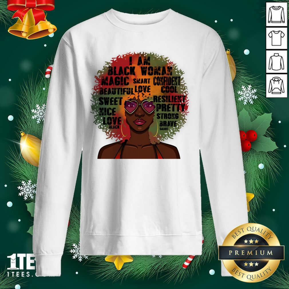 Black History Month Natural Hair Afro Word Art Black Women Gift Sweatshirt- Design By 1tees.com