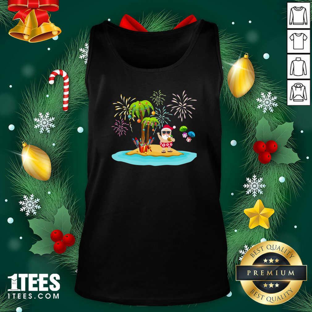 Christmas Palm Tree Xmas Coconut Lights Tank Top- Design By 1tees.com