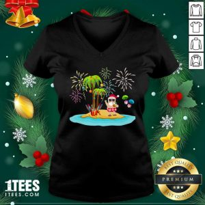 Christmas Palm Tree Xmas Coconut Lights V-neck- Design By 1tees.com