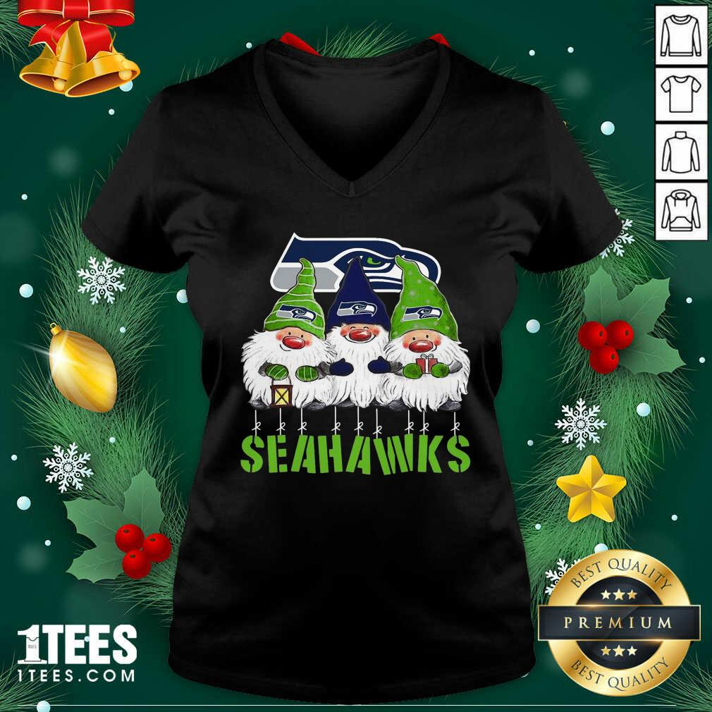 Gnomies Seattle Seahawks Christmas V-neck- Design By 1Tees.com