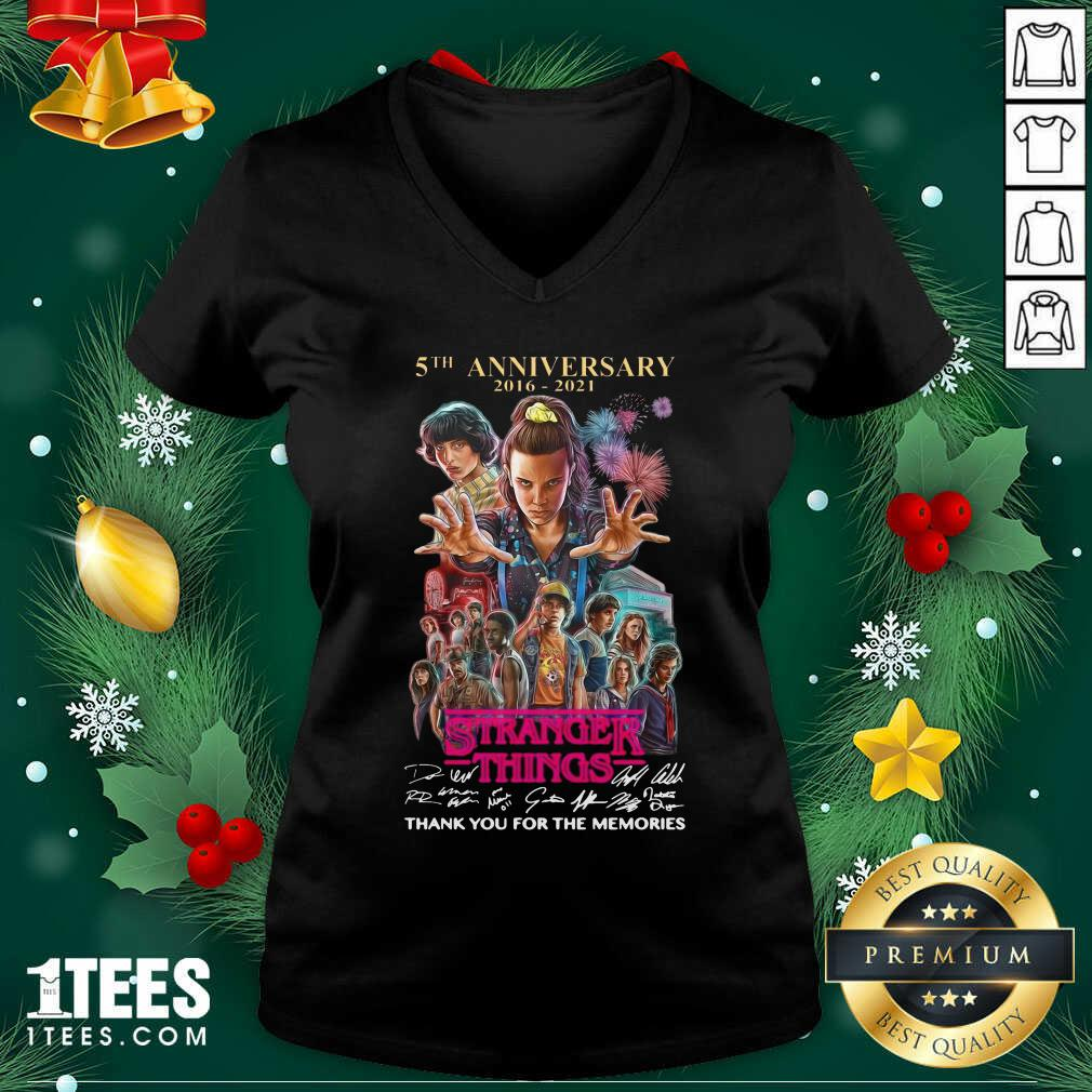 Stranger Things 5th Anniversary Signatures Thank You For The Memories V-neck- Design By 1Tees.com