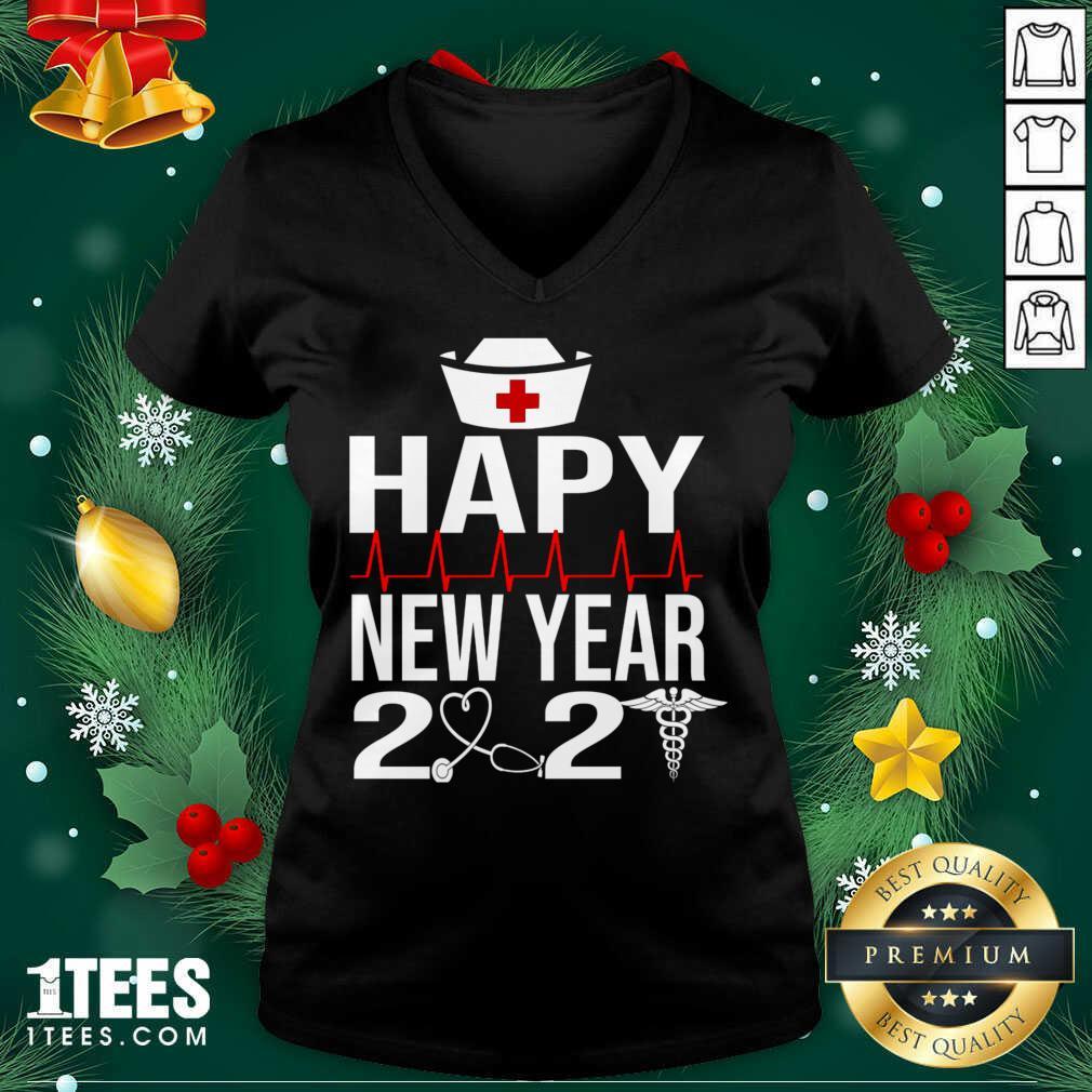 Happy New Year 2021 Nurse Crew Santa's Favorite Nurse V-neck- Design By 1tees.com