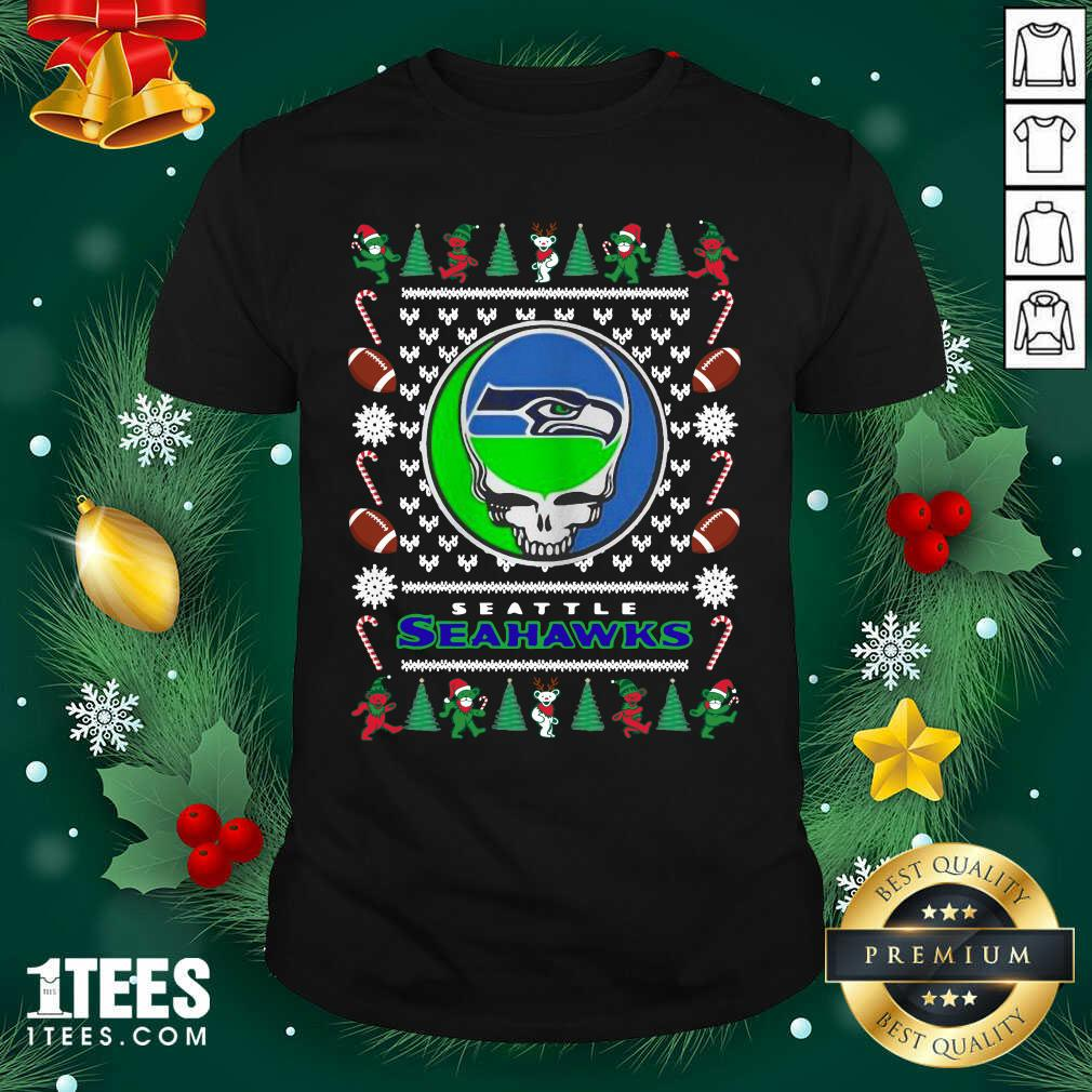 Seattle Seahawks Grateful Dead Ugly Christmas Shirt- Design By 1Tees.com
