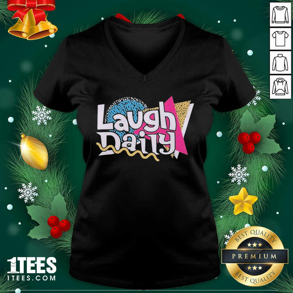 Morejstu Merch Jstu Retro Laugh Daily V-neck- Design By 1Tees.com