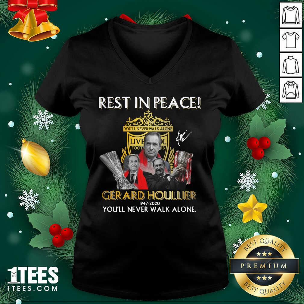 Rest In Peace Gerard Houllier 12947 2020 Liverpool Football You'll Never Walk Alone Signature V-neck- Design By 1Tees.com