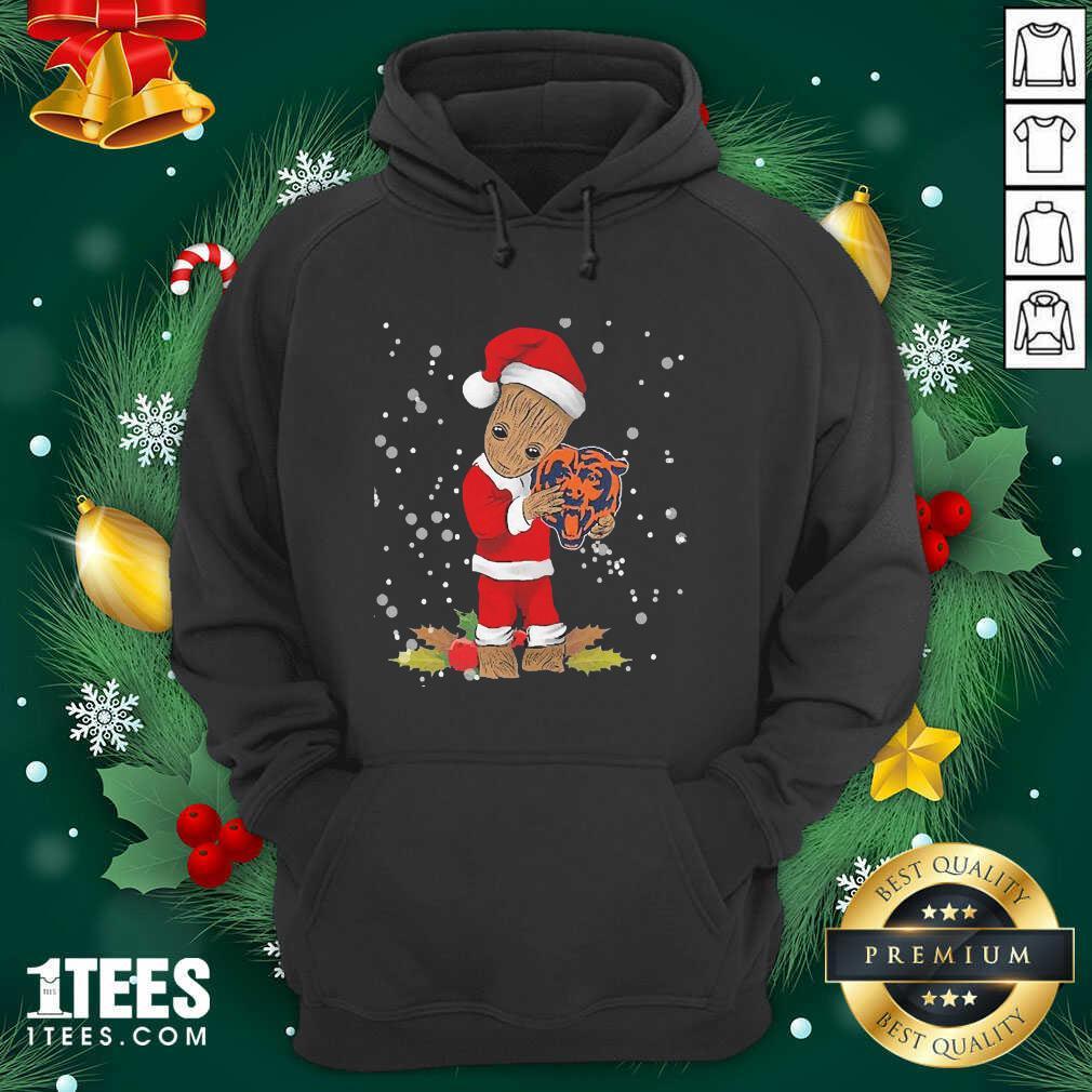 Santa Baby Groot Hug Chicago Bears Christmas Hoodie- Design By 1Tees.com