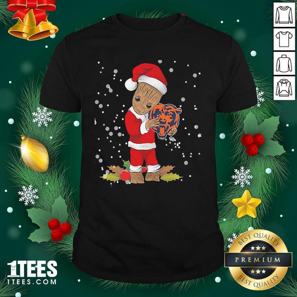 Santa Baby Groot Hug Chicago Bears Christmas Shirt- Design By 1tees.com