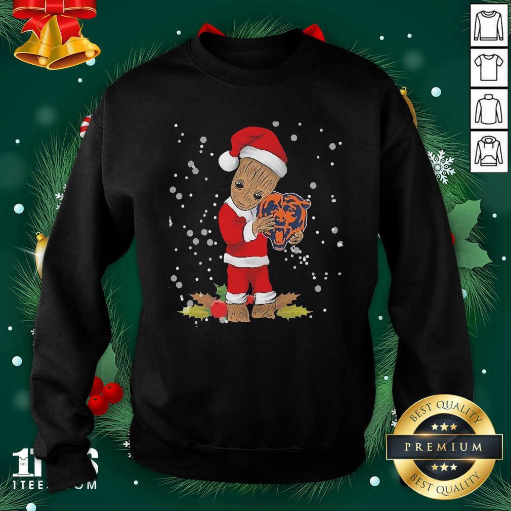 Santa Baby Groot Hug Chicago Bears Christmas Sweatshirt- Design By 1Tees.com