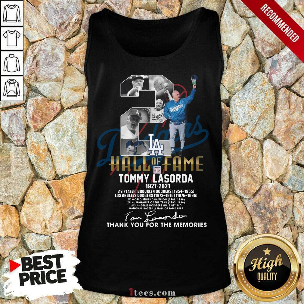 2 Hall Of Fame Tommy Lasorda 1927 2021 Thank You For The Memories Signature Tank Top-Design By 1Tees.com
