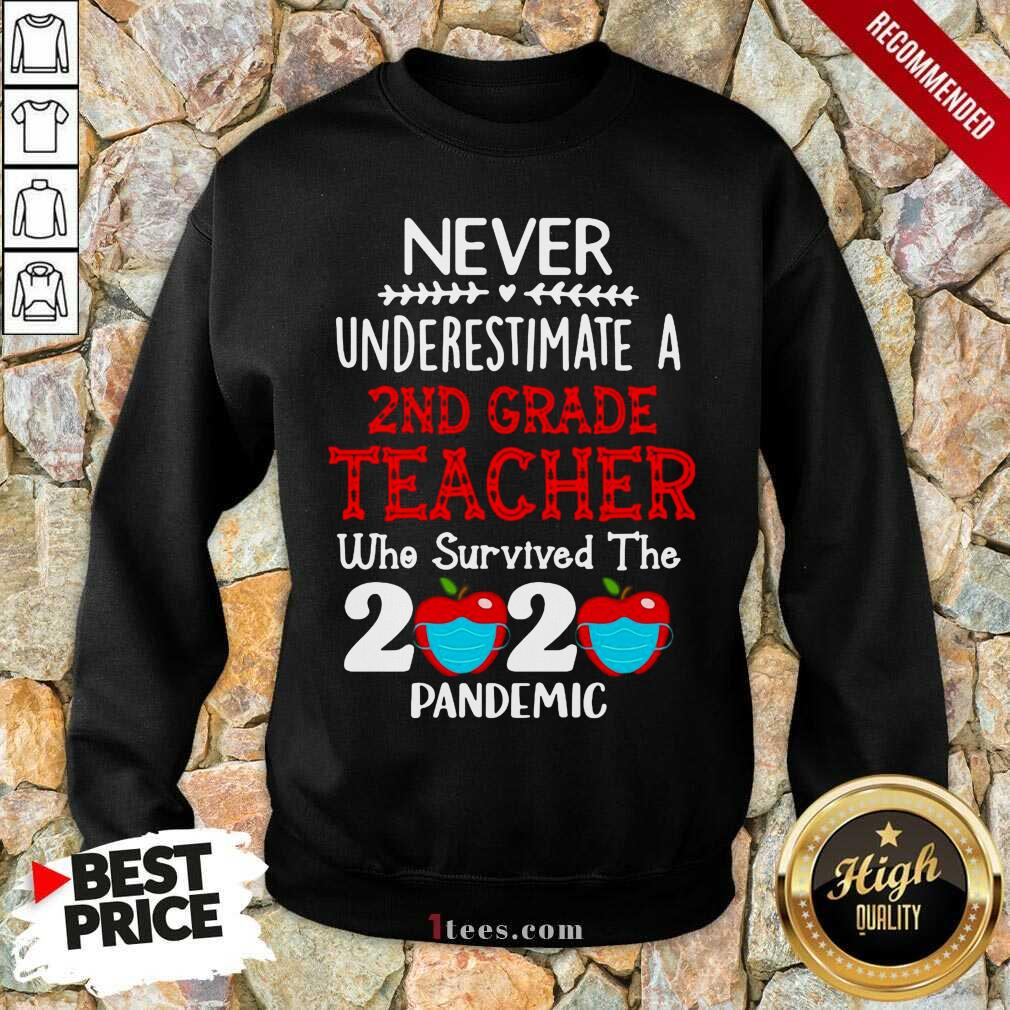 Never Underestimate A 2nd Grade Teacher Who Survived The 2020 Pandemic Sweatshirt- Design By 1Tees.com