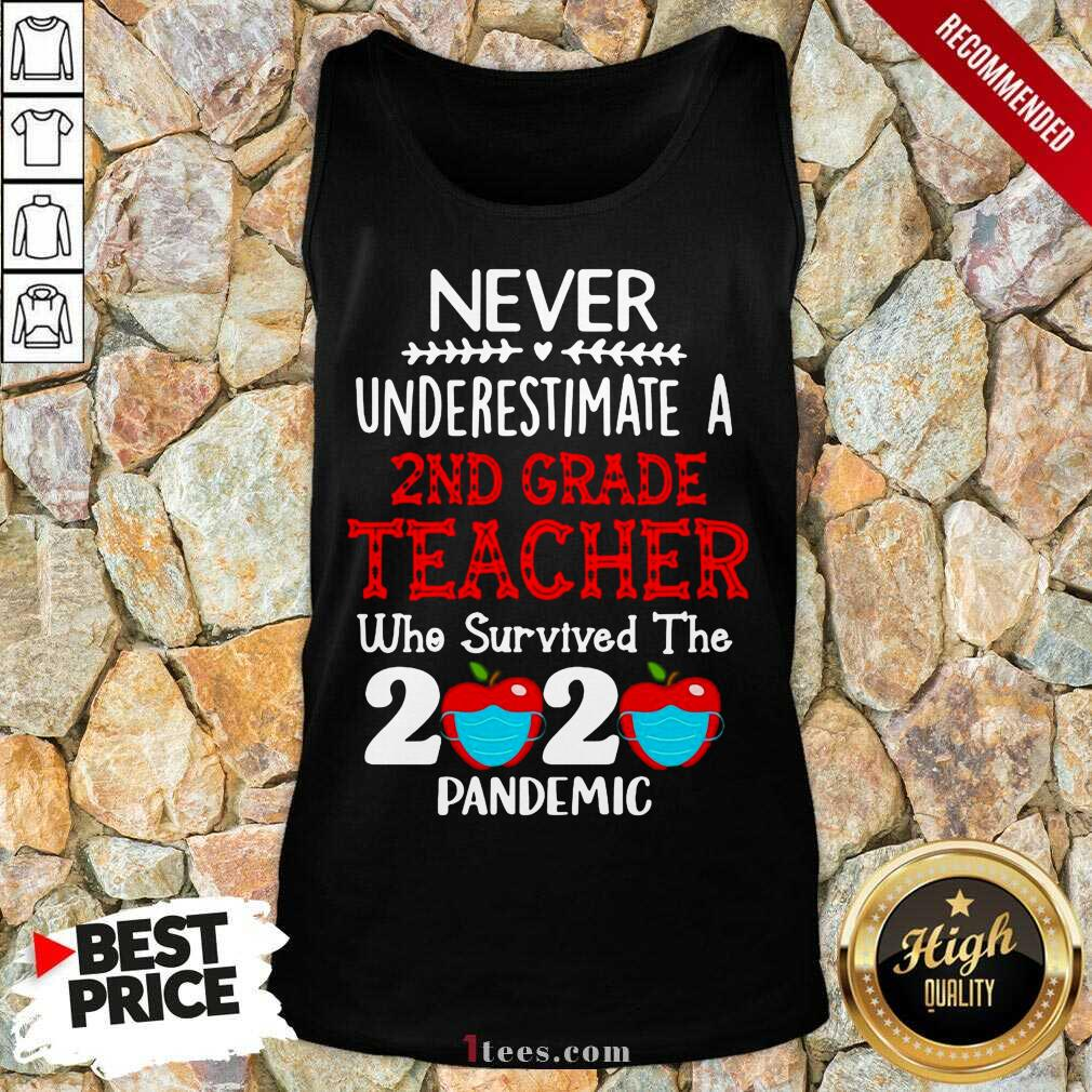 Never Underestimate A 2nd Grade Teacher Who Survived The 2020 Pandemic Tank Top- Design By 1Tees.com