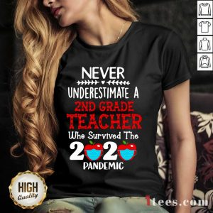 Never Underestimate A 2nd Grade Teacher Who Survived The 2020 Pandemic V-neck- Design By 1Tees.com