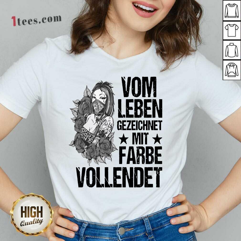Vom Leben Gezeichnet Mit Farbe Vollendet V-neck-Design By 1Tees.com