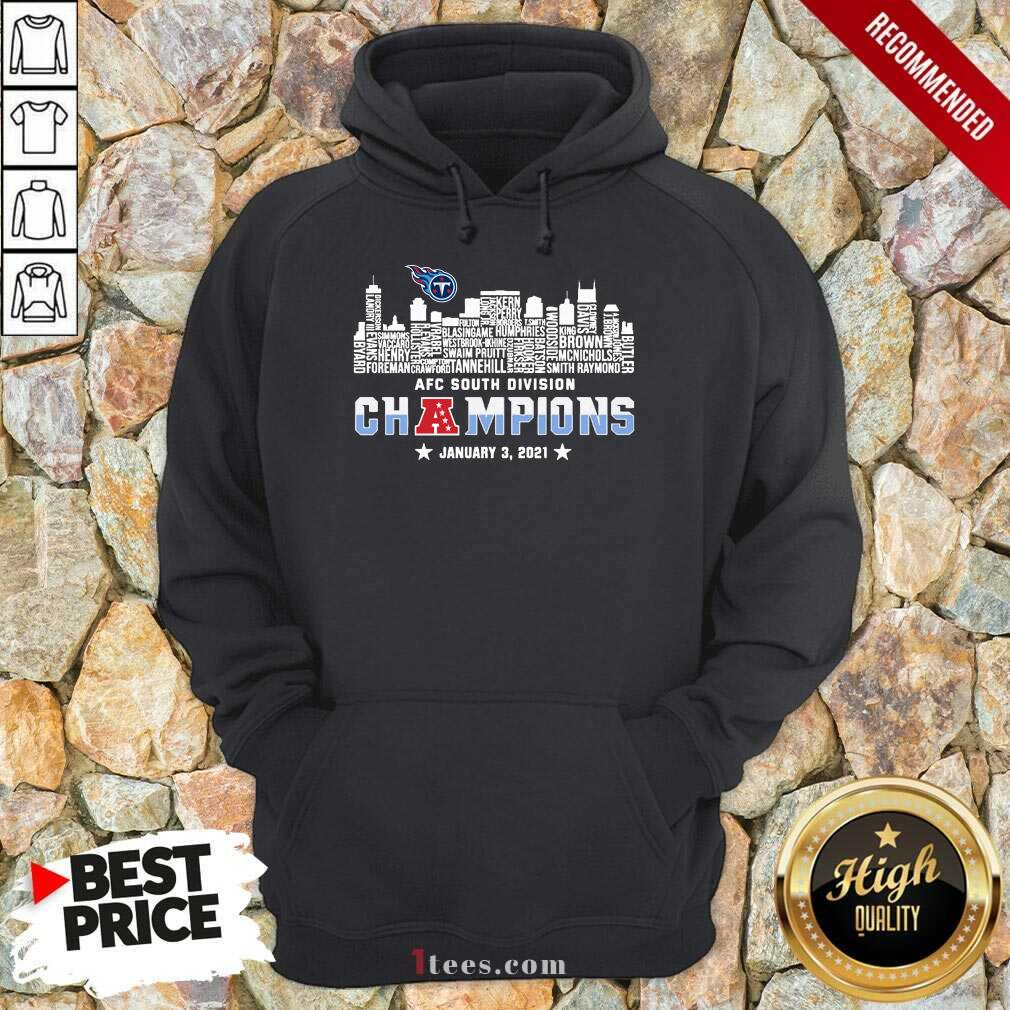 Tennessee Titans 2020 AFC South Division Champions January 3 2021 Hoodie- Design By 1Tees.com