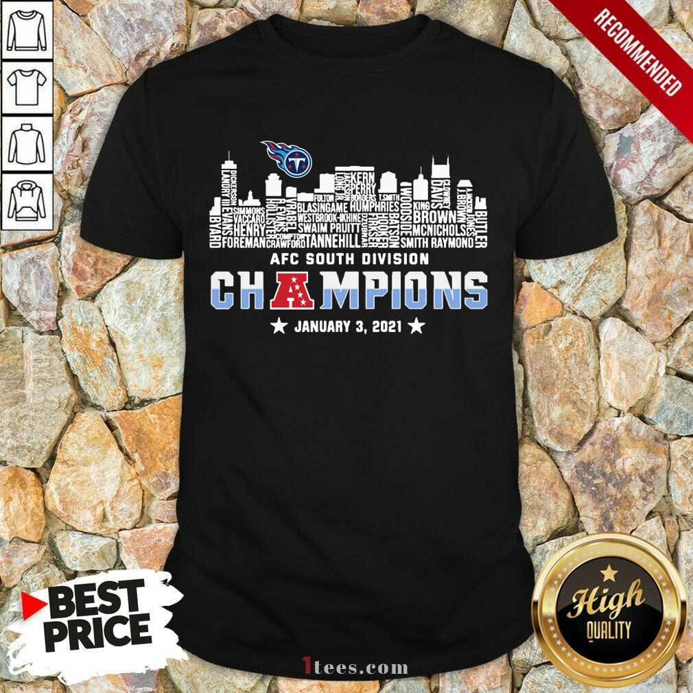 Tennessee Titans 2020 AFC South Division Champions January 3 2021 Shirt- Design By 1Tees.com