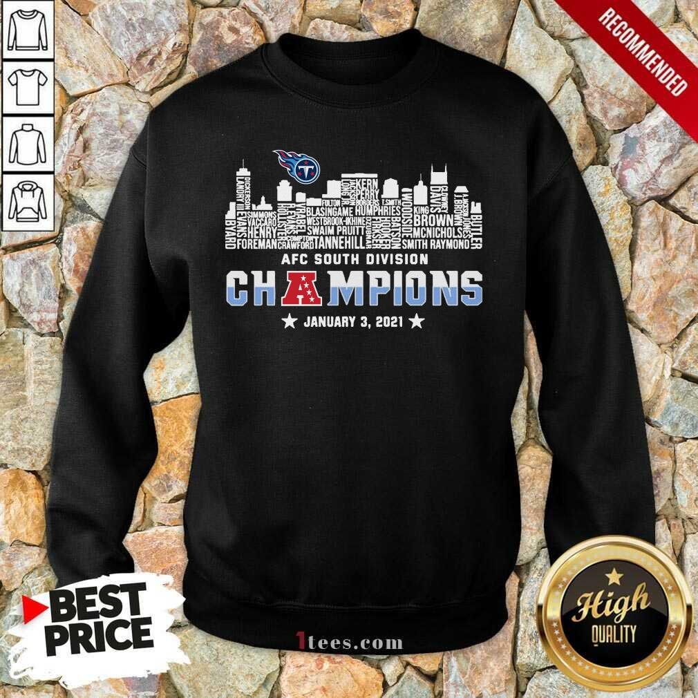 Tennessee Titans 2020 AFC South Division Champions January 3 2021 Sweatshirt- Design By 1Tees.com