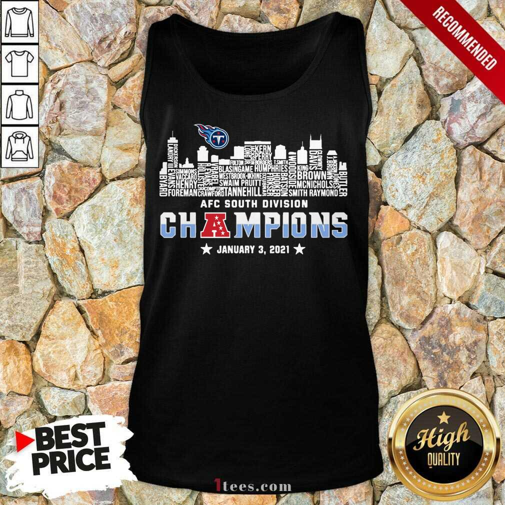 Tennessee Titans 2020 AFC South Division Champions January 3 2021 Tank Top- Design By 1Tees.com