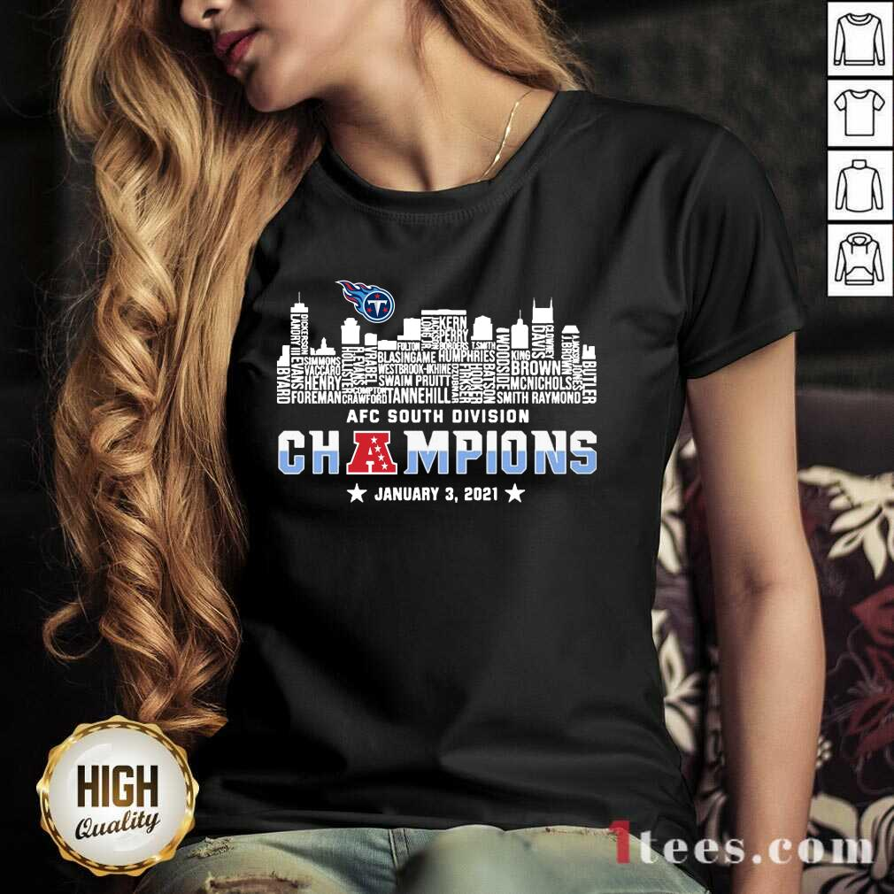 Tennessee Titans 2020 AFC South Division Champions January 3 2021 V-neck- Design By 1Tees.com