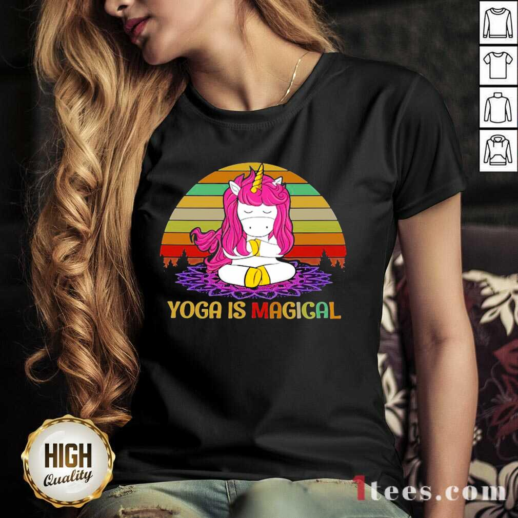 Unicorn Yoga Is Magical Vintage V-neck- Design By 1Tees.com