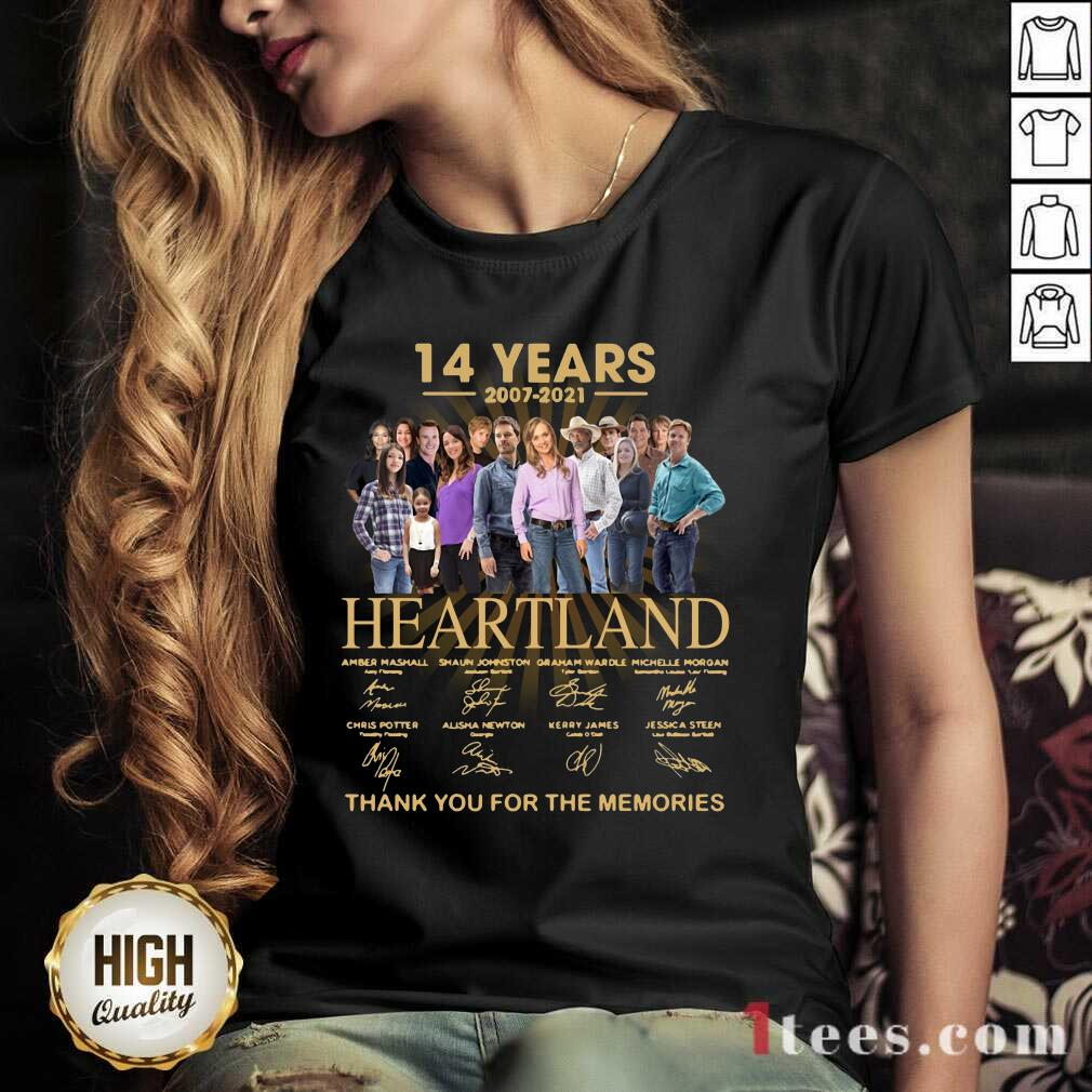 14 Years 2007 2021 Heartland Thank You For The Memories Signatures V-neck-Design By 1Tees.com